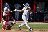Tyler Kuresa #18 of the UC Santa Barbara Gauchos bats against the Cal State Northridge Matadors at Matador Field on May 10, 2013 in Northridge, California. UC Santa Barbara defeated Cal State Northridge, 6-1. (Larry Goren/Four Seam Images)