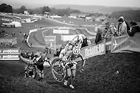 Diether Sweeck (BEL/Corendon-Kwadro) up the steep slopes of the Hotond Berg<br /> <br /> GP Mario De Clercq 2014<br /> Hotond Cross<br /> CX BPost Bank Trofee - Ronse