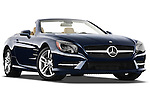 Low aggressive passenger side front three quarter view of a 2013 Mercedes SL Class .