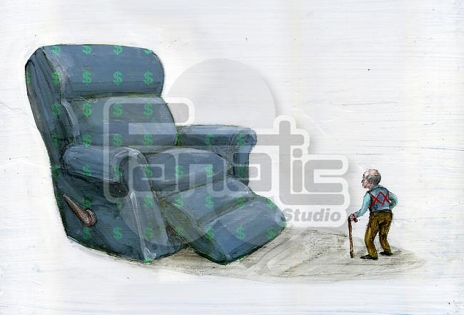 Illustrative image of senior man walking towards big chair with dollar signs representing pension and savings