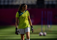 KASHIMA, JAPAN - AUGUST 5: Lydia Williams #1 of Australia warms up during a game between Australia and USWNT at Kashima Soccer Stadium on August 5, 2021 in Kashima, Japan.
