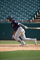 Binghamton Rumble Ponies Luis Carpio (21) bats during an Eastern League game against the Bowie Baysox on August 21, 2019 at Prince George's Stadium in Bowie, Maryland.  Bowie defeated Binghamton 7-6 in ten innings.  (Mike Janes/Four Seam Images)