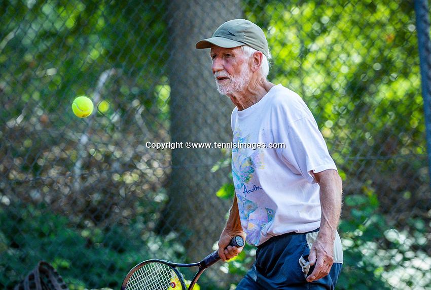 Hilversum, The Netherlands,  August 18, 2020,  Tulip Tennis Center, NKS, National Senior Championships, Men's single 80+ ,  Herman Brouwer (NED) <br /> Photo: www.tennisimages.com/Henk Koster