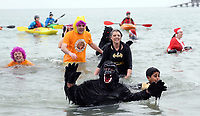 Pictured: People in fancy dress take to the water. Tuesday 26 December 2017<br /> Re: Hundreds took part in this year's Tenby Boxing Day Swim which sees people in fancy dress taking to the sea in Tenby, west Wales, UK.