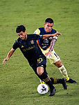 Carlos Vela of Los Angeles FC (USA) and Luis Reyes of Club America (MEX) fight for the ball during their CONCACAF Champions League Semi Finals match at the Orlando's Exploria Stadium on 19 December 2020, in Florida, USA. Photo by Victor Fraile / Power Sport Images