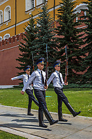 Russia, Moscow. Changing of the guard outside Red Square.