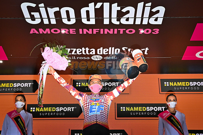 Jonathan Caicedo (ECU) EF Pro Cycling wins Stage 3 of the 103rd edition of the Giro d'Italia 2020 running 150km from Enna to Etna (Linguaglossa-Piano Provenzana), Sicily, Italy. 5th October 2020.  <br /> Picture: LaPresse/Massimo Paolone | Cyclefile<br /> <br /> All photos usage must carry mandatory copyright credit (© Cyclefile | LaPresse/Massimo Paolone)