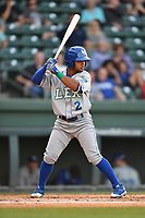 Shortstop Ricky Aracena (2) of the Lexington Legends bats in a game against the Greenville Drive on Wednesday, April 12, 2017, at Fluor Field at the West End in Greenville, South Carolina. Greenville won, 4-1. (Tom Priddy/Four Seam Images)