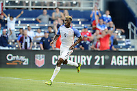Kansas City, KS. - May 28, 2016:Gyasi Zardes scores the opening goal. The U.S. Men's national team defeated Bolivia 4-0 in an international friendly tuneup match prior to the opening of the 2016 Copa America Centenario at Children's Mercy Park.