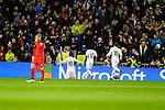 Real Madrid´s James Rodriguez, Marcelo Vieira and Nacho Fernandez during 2014-15 La Liga match between Real Madrid and Sevilla at Santiago Bernabeu stadium in Alcorcon, Madrid, Spain. February 04, 2015. (ALTERPHOTOS/Luis Fernandez)