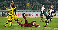 18.02.2018, Football 1. Bundesliga 2017/2018, 23.  match day, Borussia Moenchengladbach - Borussia Dortmund, Borussia-Park Moenchengladbach.  Marco Reus (Dortmund) and Christian Pulisic (Dortmund)  -  Jannik Vestergaard (Gladbach) , goalkeeper Yann Sommer (Gladbach) and Matthias Ginter (Gladbach)  *** Local Caption *** © pixathlon<br /> <br /> Contact: +49-40-22 63 02 60 , info@pixathlon.de