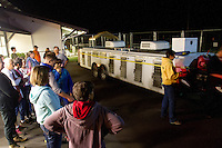 28 retired racing greyhounds arrive in the early morning hours at Greyhound Pets in Woodinville, Wash. on Sunday, June 21,2015.