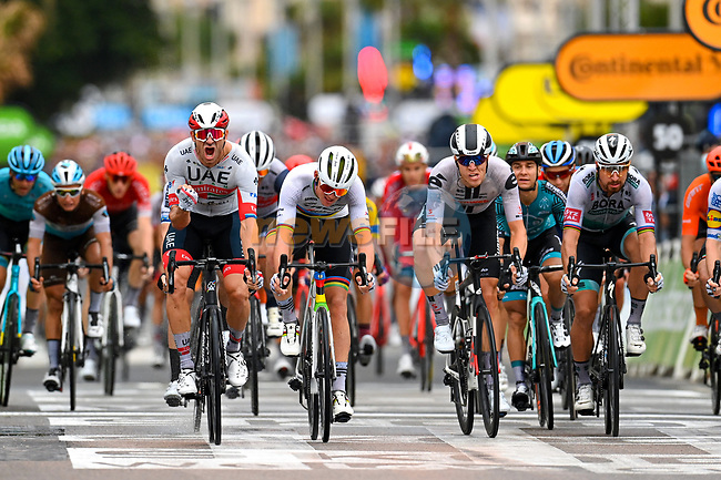Alexander Kristoff (NOR) UAE Team Emirates wins ahead of Peter Sagan (SVK) Bora-Hansgrohe, Mads Pedersen (DEN) Trek-Segafredo, Giacomo Nizzolo (ITA) NTT Pro Cycling and Cees Bol (NED) Team Sunweb at the end of Stage 1 of Tour de France 2020, running 156km from Nice Moyen Pays to Nice, France. 29th August 2020.<br /> Picture: POOL/Bora-Hansgrohe/BettiniPhoto | Cyclefile<br /> All photos usage must carry mandatory copyright credit (© Cyclefile | POOL/Bora-Hansgrohe/BettiniPhoto)