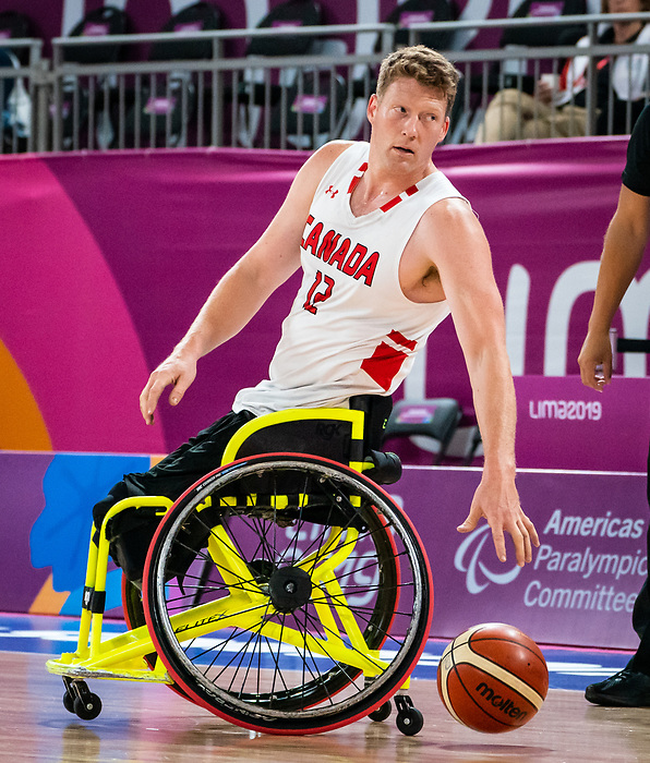Patrick Anderson, Lima 2019 - Wheelchair Basketball // Basketball en fauteuil roulant.<br /> Men's wheelchair basketball takes on Colombia in the semifinal game // Le basketball en fauteuil roulant masculin affronte la Colombie en demi-finale. 30/08/2019.