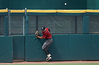 Left fielder Reece Holdbrock (2) of Hammond School in Mt. Pleasant, SC playing for the Arizona Diamondbacks scout team crashes into the wall while chasing a fly ball during the East Coast Pro Showcase at the Hoover Met Complex on August 2, 2020 in Hoover, AL. (Brian Westerholt/Four Seam Images)