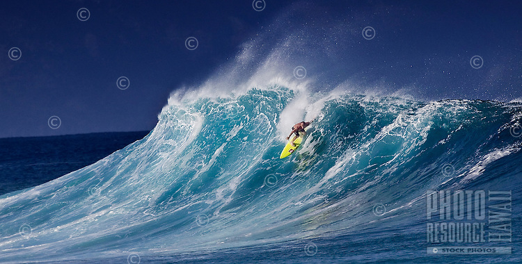 Two-time Surfing World Champion Tom Carroll at RockPile, on North Shore of Oahu.
