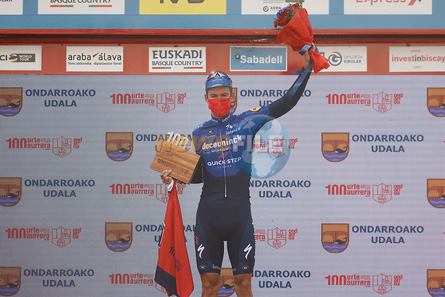 Mikkel Honoré (DEN) Deceuninck-QuickStep wins Stage 5 of the Itzulia Basque Country 2021, running 160.2km from Hondarribia to Ondarroa, Spain. 9th April 2021.  <br /> Picture: Luis Angel Gomez/Photogomezsport | Cyclefile<br /> <br /> All photos usage must carry mandatory copyright credit (© Cyclefile | Luis Angel Gomez/Photogomezsport)