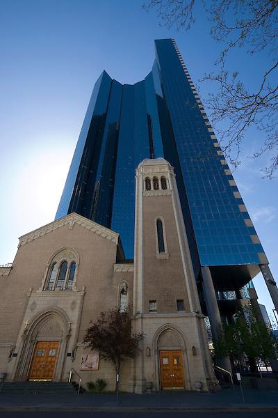 Church and skyscraper, Denver, Colorado, USA John offers private photo tours of Denver, Boulder and Rocky Mountain National Park.