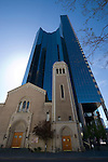 Church and skyscraper, Denver, Colorado, USA John offers private photo tours of Denver, Boulder and Rocky Mountain National Park.