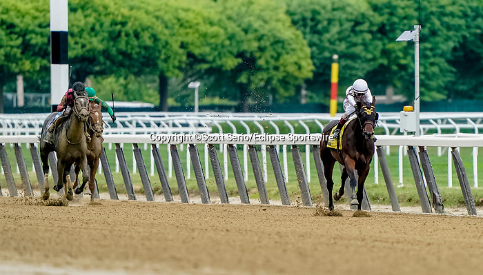 June 3, 2021: Happy Soul #4, ridden by John Velazquez, wins the Astoria Stakes during Thursday at the Belmont Stakes Festival at Belmont Park in Elmont, New York. Scott Serio/Eclipse Sportswire/CSM