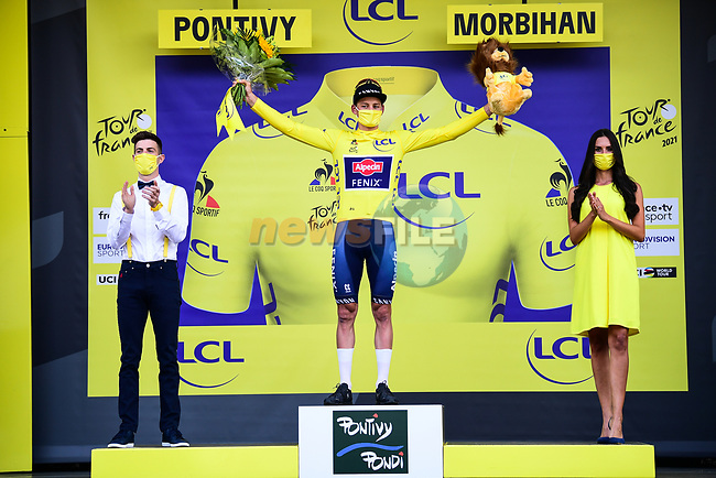 Race leader Mathieu Van Der Poel (NED) Alpecin-Fenix retains the Yellow Jersey at the end of Stage 3 of the 2021 Tour de France, running 182.9km from Lorient to Pontivy, France. 28th June 2021.  <br /> Picture: A.S.O./Pauline Ballet | Cyclefile<br /> <br /> All photos usage must carry mandatory copyright credit (© Cyclefile | A.S.O./Pauline Ballet)