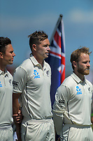 NZ's Trent Boult (left), Tim Southee (centre) and Kane Williamson line up before day one of the international cricket 1st test match between NZ Black Caps and England at Bay Oval in Mount Maunganui, New Zealand on Thursday, 21 November 2019. Photo: Dave Lintott / lintottphoto.co.nz