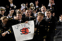 The Navy Midshipmen in the stands celebrate after the Navy Midshipmen beat the Pitt Panthers 48-45 in double overtime on October 10, 2007 at Heinz Field, Pittsburgh, Pennsylvania.
