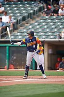 Vimael Machín (9) of the Las Vegas Aviators at bat against the Salt Lake Bees at Smith's Ballpark on July 25, 2021 in Salt Lake City, Utah. The Aviators defeated the Bees 10-6. (Stephen Smith/Four Seam Images)