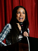 Canadian R&B singer Keshia Chanté addresses students at Killarney Secondary in Vancouver, BC on Monday, February 26. As part of the Rogers & Vervegirl  Magazine Love Music Speaking Tour Chanté will be visiting eight high schools across Canada to speak to students about how music has positively influenced her life. (CNW Group/Rogers Communications)