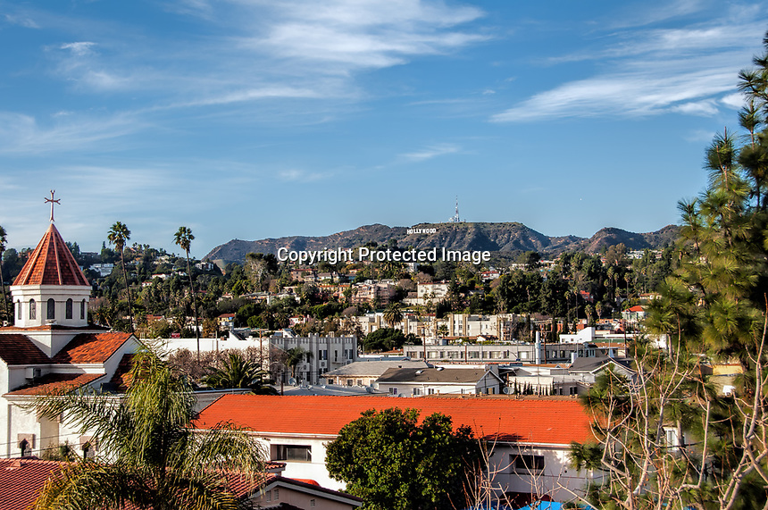 A view of the eastern part of Hollywood, California.