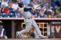 Toledo Mud Hens second baseman Brandon Douglas #11 swings at a pitch during a game against the Durham Bulls at Durham Bulls Athletic Park on July 25, 2014 in Durham, North Carolina. The Mud Hens defeated the Bulls 5-3. (Tony Farlow/Four Seam Images)