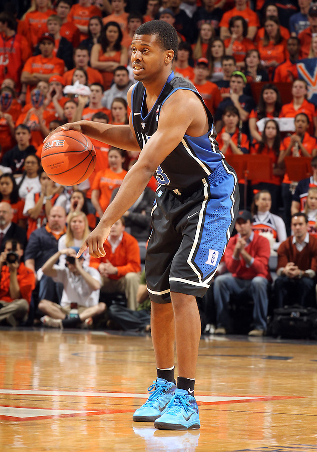 Feb. 16, 2011; Charlottesville, VA, USA;  Duke Blue Devils guard Tyler Thornton (3) handles the ball during the second half of the game against the Virginia Cavaliers at the John Paul Jones Arena. The Duke Blue Devils won 56-41.  Credit Image: © Andrew Shurtleff