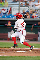 Auburn Doubledays left fielder Telmito Agustin (37) at bat during a game against the Lowell Spinners on July 13, 2018 at Falcon Park in Auburn, New York.  Lowell defeated Auburn 8-5.  (Mike Janes/Four Seam Images)