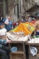 A street market stall selling garlic and oranges Montevideo, Uruguay, South America