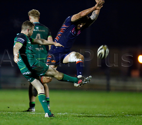 13th March 2021; Galway Sportsgrounds, Galway, Connacht, Ireland; Guinness Pro 14 Rugby, Connacht versus Edinburgh; Luke Crosbie (Edinburgh) tries to knock down the kick from Jack Cartys (Connacht)