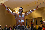 21 March 2016, Jakarta, Indonesia:  Australian Indigenous navy members doing  traditional dance at the opening of the new Australian Embassy in Jakarta. The function included traditional welcomes, dancing and speeches from Australian and Indonesian guests. Picture by  Graham Crouch/DFAT