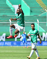 PALMIRA - COLOMBIA, 14-10-2020: Deiber Caicedo del Cali celebra después de anotar el segundo gol de su equipo durante partido entre Deportivo Cali y Boyacá Chicó F.C. por la fecha 14 de la Liga BetPlay DIMAYOR I 2020 jugado en el estadio Deportivo Cali de la ciudad de Palmira. / Deiber Caicedo of Cali celebrates after scoring the second goal of his team during match between Deportivo Cali and Boyaca Chico F.C. for the date 14 as part of BetPlay DIMAYOR League I 2020 played at Deportivo Cali stadium in Palmira city.  Photo: VizzorImage / Nelson Rios / Cont