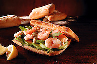 Prawn, avacado and rocket  chiabatta sandwich. Food photos.