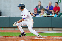 Daniel Wagner #5 of the Winston-Salem Dash follows through on his swing against the Lynchburg Hillcats at BB&T Ballpark on May 7, 2011 in Winston-Salem, North Carolina.   Photo by Brian Westerholt / Four Seam Images