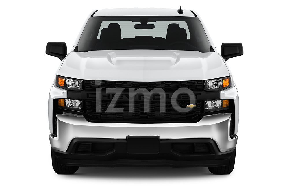 Car photography straight front view of a 2020 Chevrolet Silverado-1500 WT 4 Door Pick-up Front View