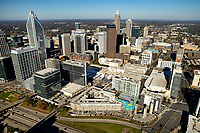 11/20/2020: Aerial photography of the Charlotte, North Carolina skyline. The skyline views of Bank of America Corporate Center, Duke Energy Center, Bank of America Stadium, Legacy Union and the Charlotte Knights Baseball Stadium, Spectrum Center, South End Charlotte,  South End Charlotte Apartments, CMC Medical Center, Levine Hospital, Carolinas Medical Center.<br /> <br /> Charlotte Photographer - PatrickSchneiderPhoto.com