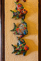 Hand-painted Carved Wooden Fish for Sale in Gift Shop, Xplor, Riviera Maya, Yucatan, Mexico.