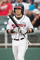 Lansing Lugnuts shortstop Bo Bichette (10) in action during the Midwest League baseball game against the Bowling Green Hot Rods on June 29, 2017 at Cooley Law School Stadium in Lansing, Michigan. Bowling Green defeated Lansing 11-9 in 10 innings. (Andrew Woolley/Four Seam Images)