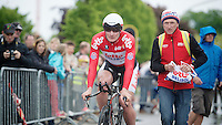 Tour of Belgium 2013.stage 3: iTT..André Greipel (DEU) just finished his TT, carer Marc Van Gyseghem awaiting him