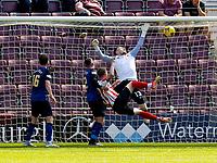 17th July 2021; Tynecastle Park, Edinburgh, Scotland;Pre Season Friendly Football, Heart of Midlothian versus Sunderland; Aiden O'Brian of Sunderland FC watches as his shot hits the crossbar