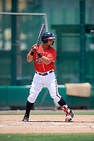 GCL Braves left fielder Jefrey Ramos (22) at bat during a game against the GCL Pirates on July 27, 2017 at ESPN Wide World of Sports Complex in Kissimmee, Florida.  GCL Braves defeated the GCL Pirates 8-6.  (Mike Janes/Four Seam Images)