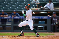 Christopher Barr (17) of the Miami Hurricanes follows through on his swing against the Georgia Tech Yellow Jackets during game one of the 2017 ACC Baseball Championship at Louisville Slugger Field on May 23, 2017 in Louisville, Kentucky. The Hurricanes walked-off the Yellow Jackets 6-5 in 13 innings. (Brian Westerholt/Four Seam Images)