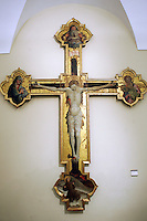 Un crocifisso modellato da Giovanni da Modena con il Padre Eterno, l'Addolorata e i Santi Giovanni e Francesco, nella Pinacoteca Nazionale di Bologna.<br /> A modelled cross with the Eternal Father, Our Lady of Sorrows and Saints John and Francis, by Giovanni da Modena, in Bologna's National Pinacoteca. <br /> UPDATE IMAGES PRESS/Riccardo De Luca