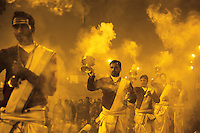 India. Uttar Pradesh state. Allahabad. Maha Kumbh Mela. Ganga Aarti ceremony at night. Ganga Aarti (also spelled arathi, aarthi) is a Hindu religious ritual of worship, a part of puja, in which light from wicks soaked in ghee (purified butter) or camphor is offered to one or more deities. The Kumbh Mela, believed to be the largest religious gathering is held every 12 years on the banks of the 'Sangam'- the confluence of the holy rivers Ganga, Yamuna and the mythical Saraswati. The Maha (great) Kumbh Mela, which comes after 12 Purna Kumbh Mela, or 144 years, is always held at Allahabad. Uttar Pradesh (abbreviated U.P.) is a state located in northern India. 11.02.13 © 2013 Didier Ruef