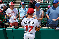 Indianapolis Indians Kevin Kramer (17) signs autographs before an International League game against the Syracuse Mets on July 17, 2019 at Victory Field in Indianapolis, Indiana.  Syracuse defeated Indianapolis 15-5  (Mike Janes/Four Seam Images)